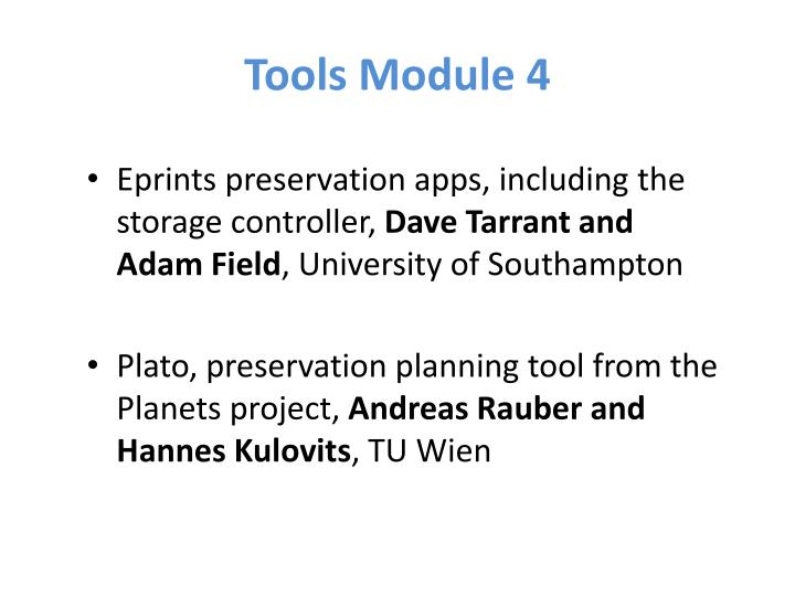 Tools Module 4