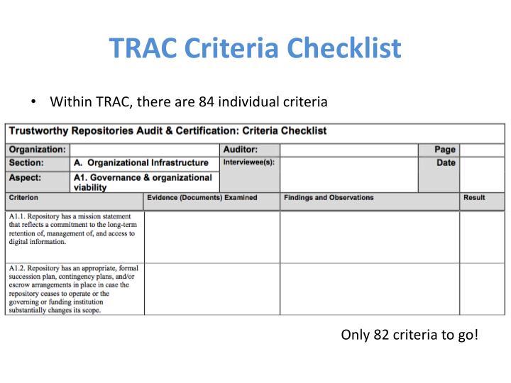 TRAC Criteria Checklist