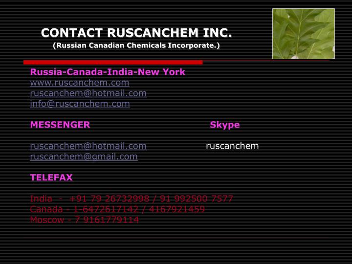 CONTACT RUSCANCHEM INC.