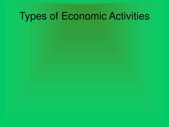 Types of Economic Activities