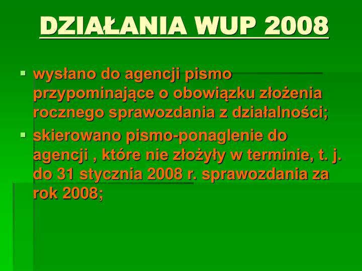 DZIAŁANIA WUP 2008