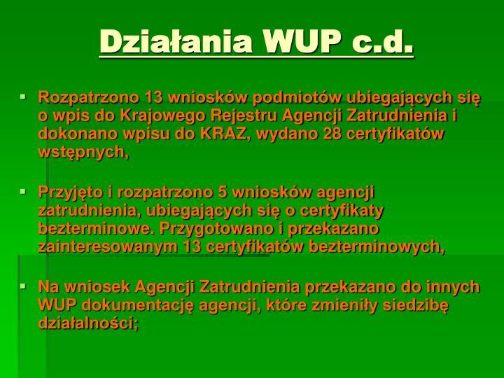 Działania WUP c.d.