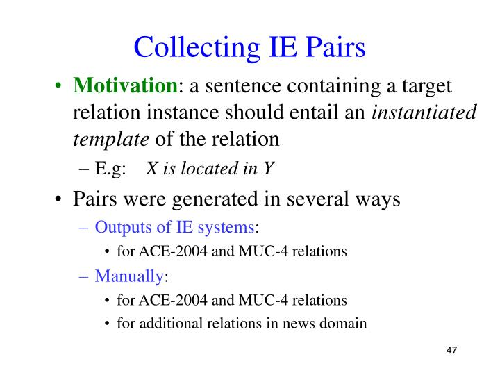 Collecting IE Pairs