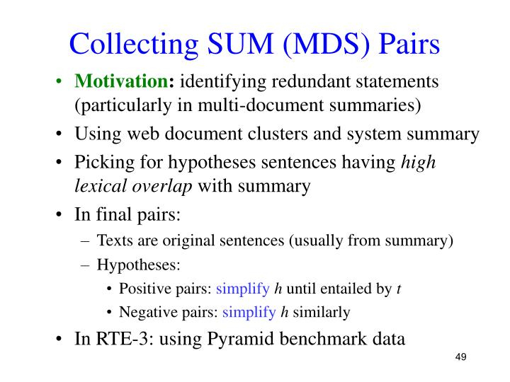Collecting SUM (MDS) Pairs