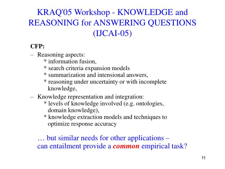 KRAQ'05 Workshop - KNOWLEDGE and REASONING for ANSWERING QUESTIONS (IJCAI-05)