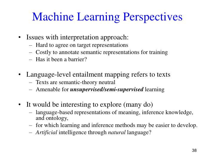 Machine Learning Perspectives