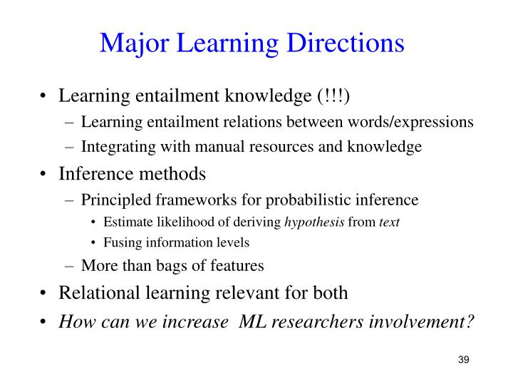 Major Learning Directions