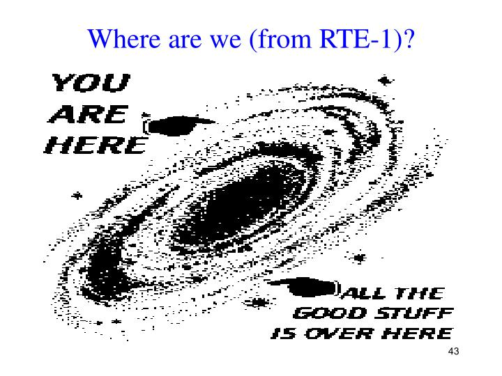 Where are we (from RTE-1)?