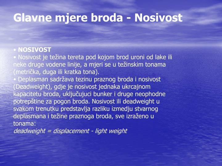 Glavne mjere broda - Nosivost