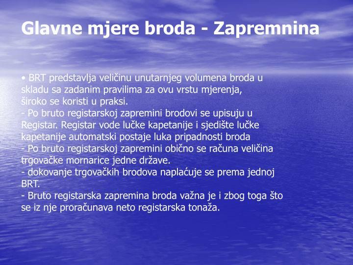 Glavne mjere broda - Zapremnina