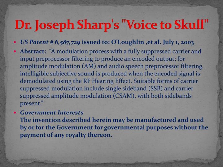 """Dr. Joseph Sharp's """"Voice to Skull"""""""