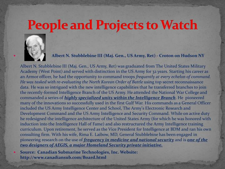 People and Projects to Watch