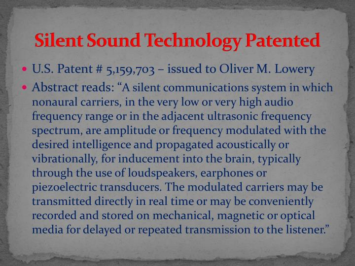 Silent Sound Technology Patented