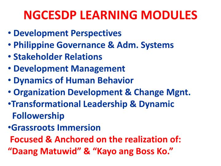NGCESDP LEARNING MODULES