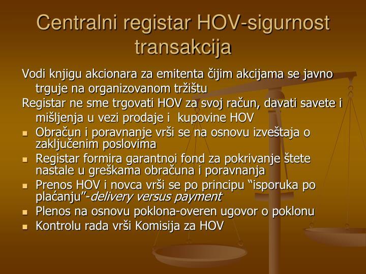 Centralni registar HOV-sigurnost transakcija