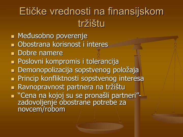 Etičke vrednosti na finansijskom tržištu