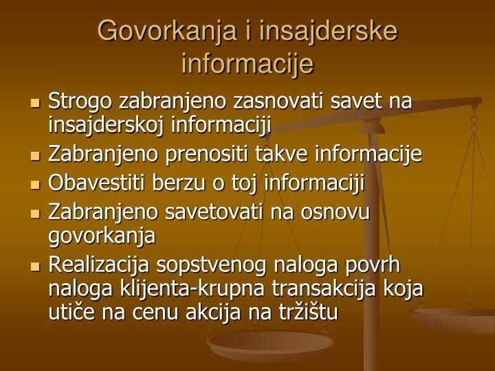 Govorkanja i insajderske informacije