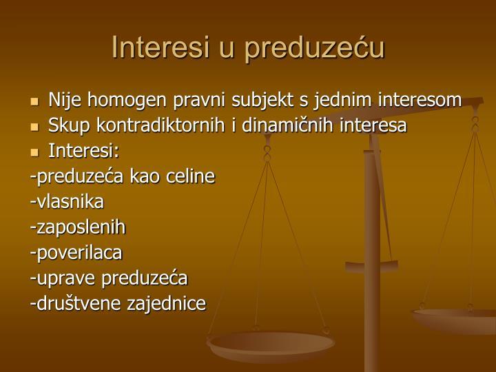 Interesi u preduzeću