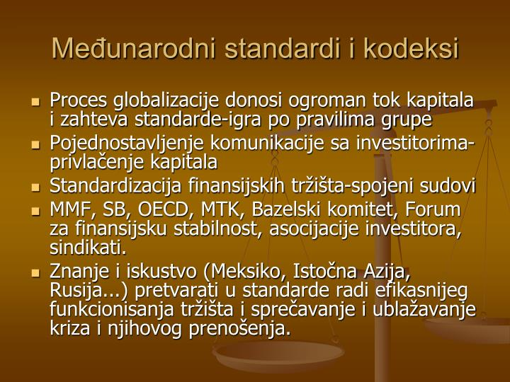 Međunarodni standardi i kodeksi