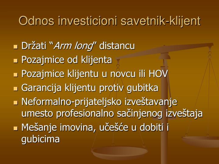 Odnos investicioni savetnik-klijent