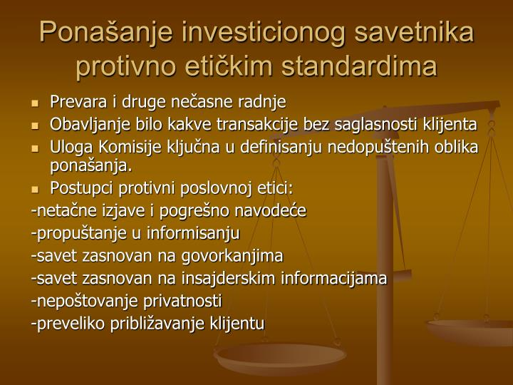 Ponašanje investicionog savetnika protivno etičkim standardima
