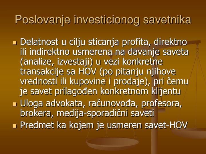 Poslovanje investicionog savetnika