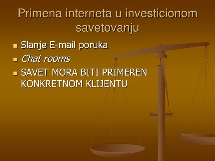 Primena interneta u investicionom savetovanju