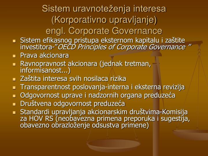 Sistem uravnoteženja interesa