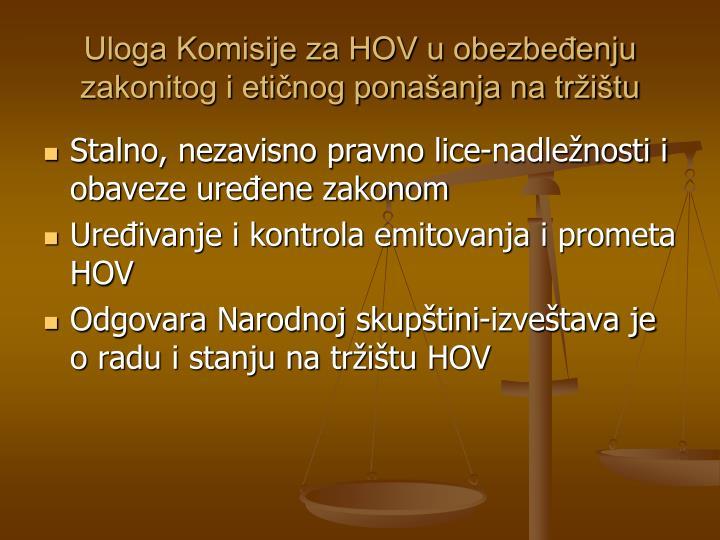 Uloga Komisije za HOV u obezbeđenju zakonitog i etičnog ponašanja na tržištu