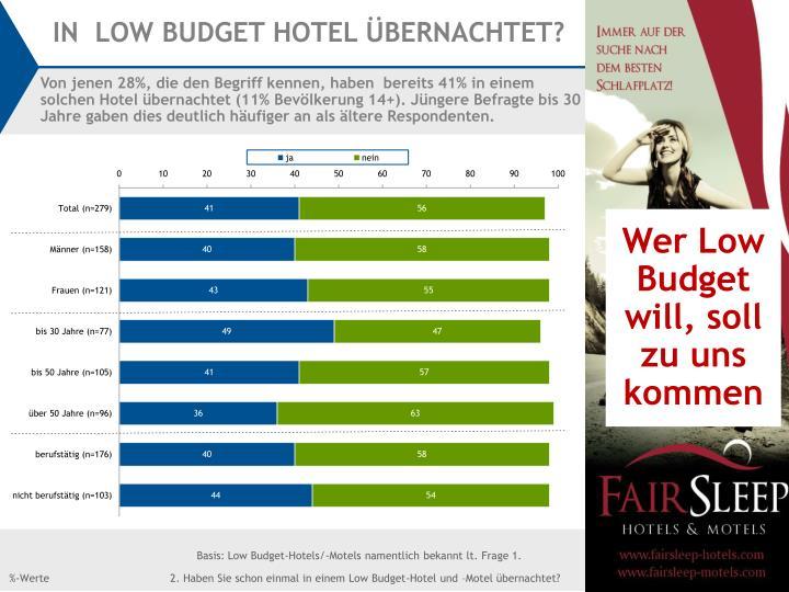 IN  LOW BUDGET HOTEL ÜBERNACHTET?