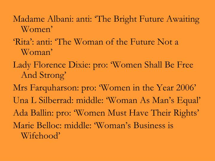 Madame Albani: anti: 'The Bright Future Awaiting Women'