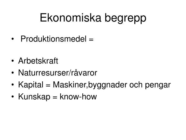 Ekonomiska begrepp