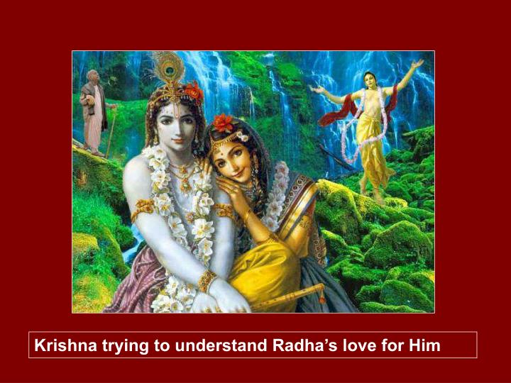 Krishna trying to understand Radha's love for Him