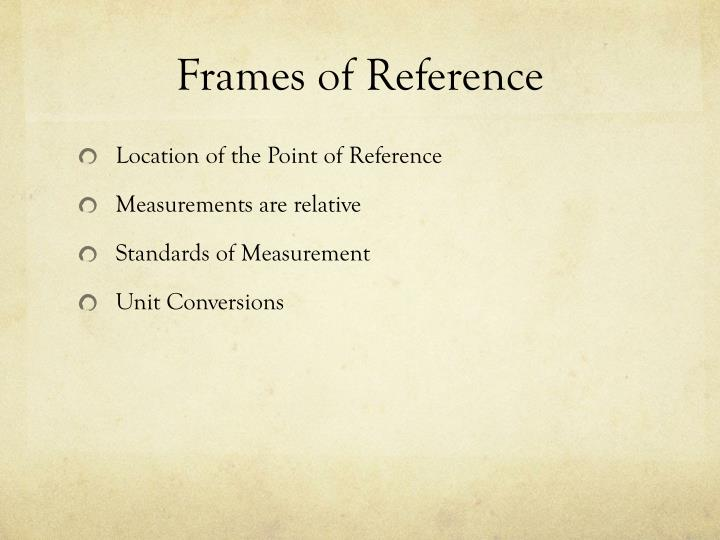 Frames of reference1