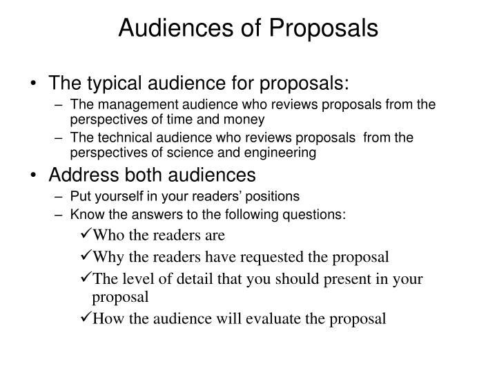 Audiences of Proposals