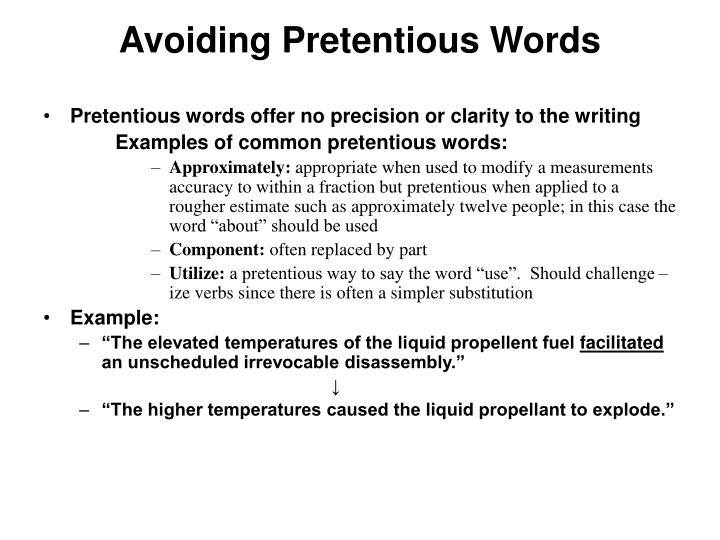 Avoiding Pretentious Words