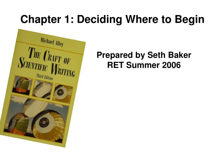 Chapter 1: Deciding Where to Begin