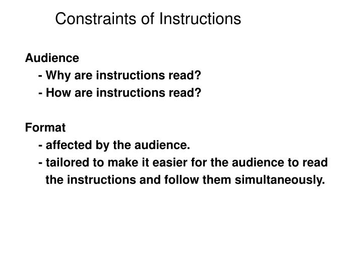 Constraints of Instructions