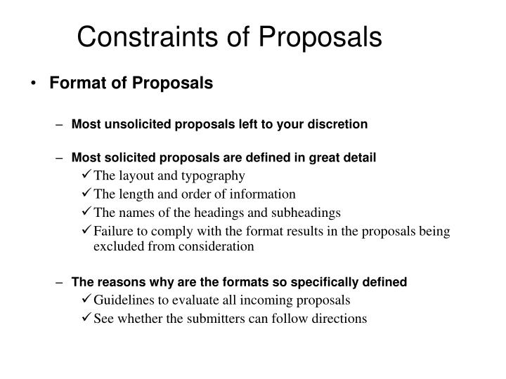 Constraints of Proposals