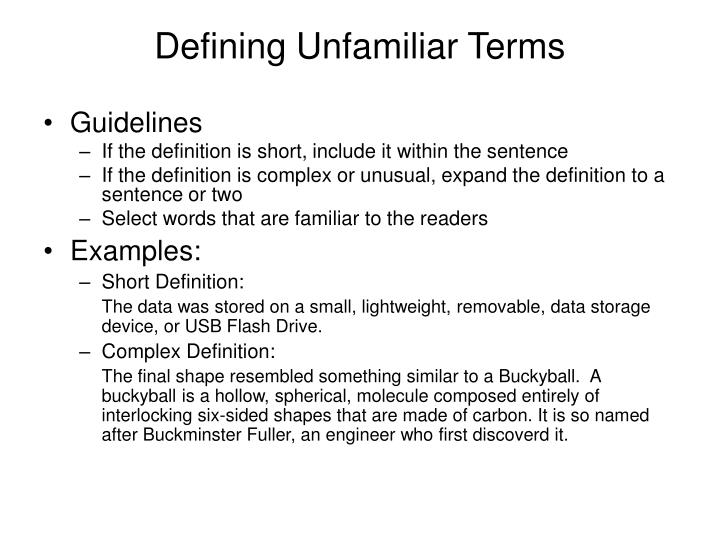 Defining Unfamiliar Terms