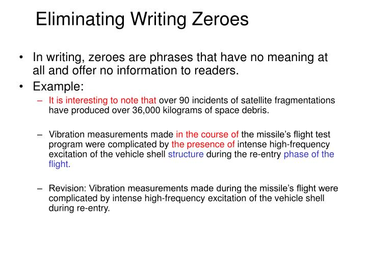 Eliminating Writing Zeroes