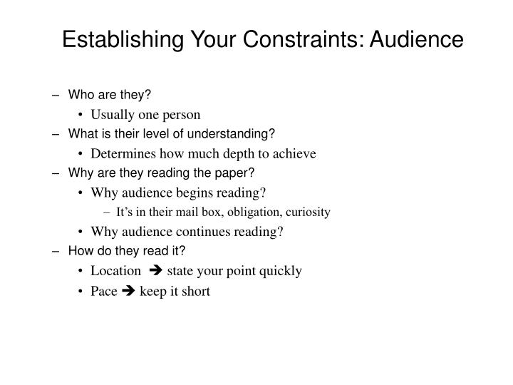 Establishing Your Constraints: Audience