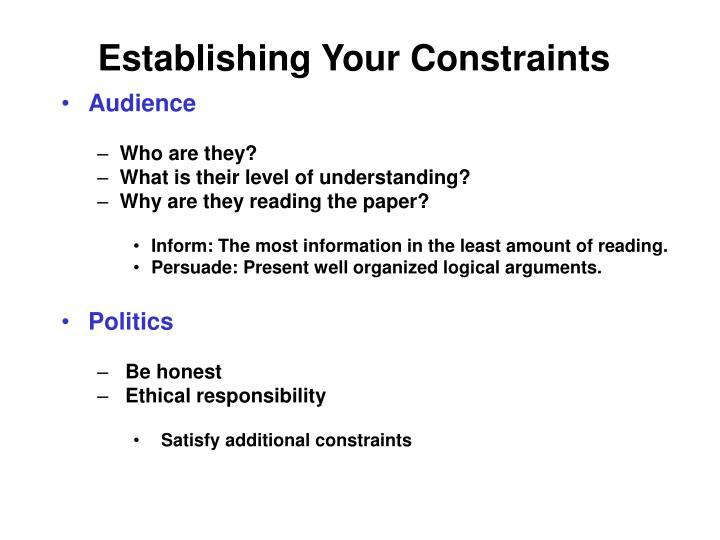 Establishing Your Constraints