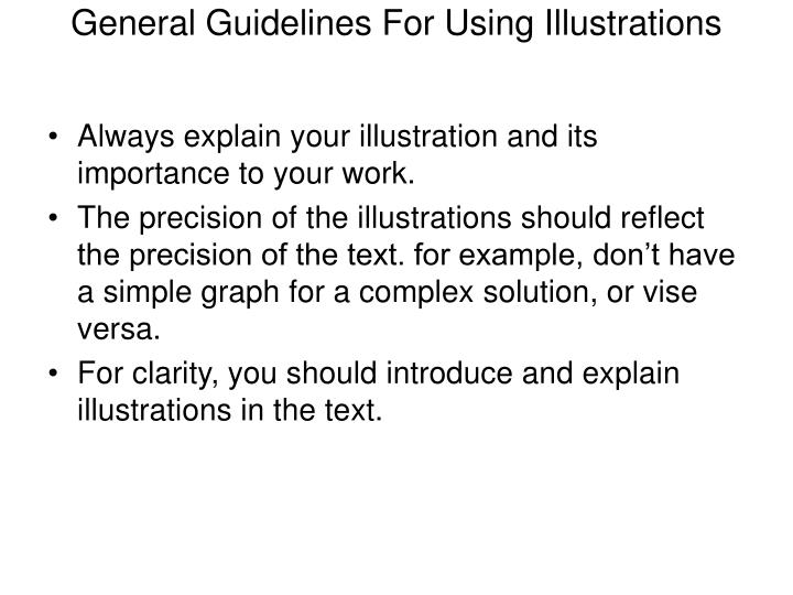 General Guidelines For Using Illustrations
