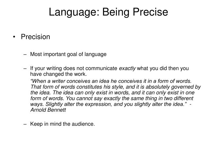 Language: Being Precise