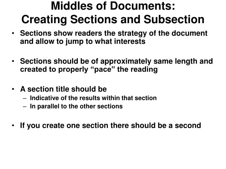 Middles of Documents: