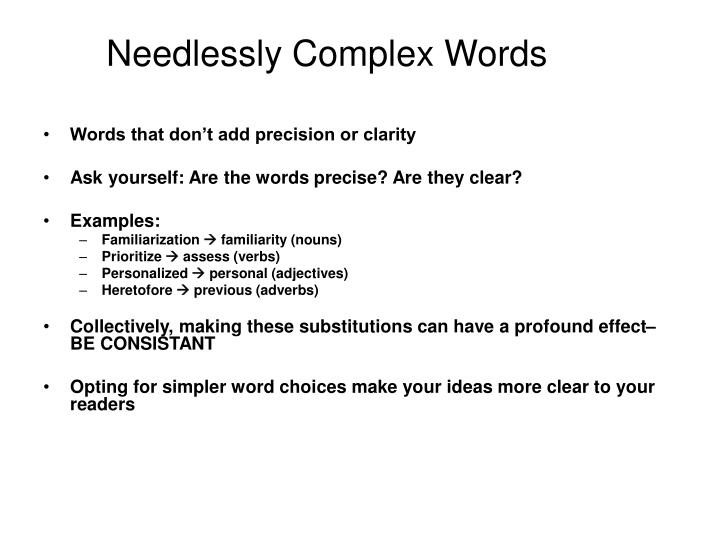 Needlessly Complex Words