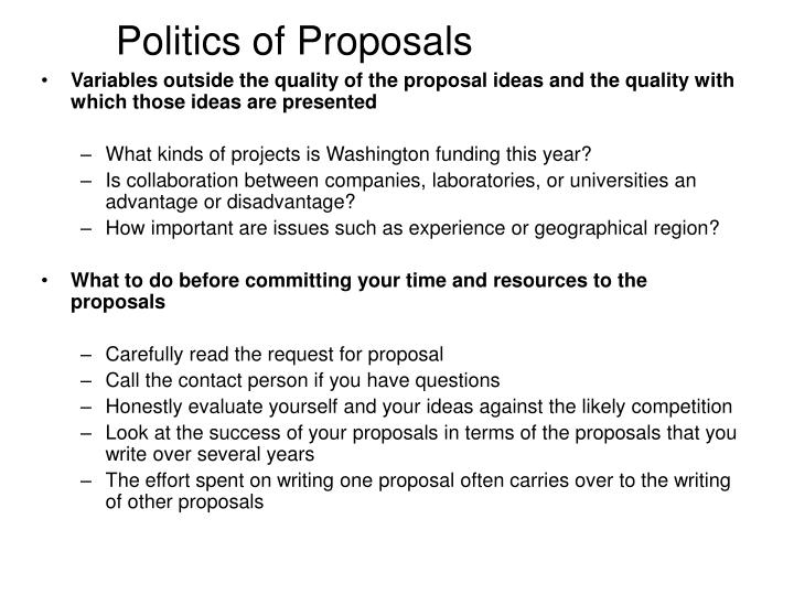 Politics of Proposals