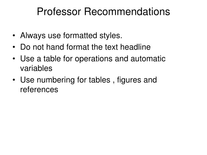 Professor Recommendations