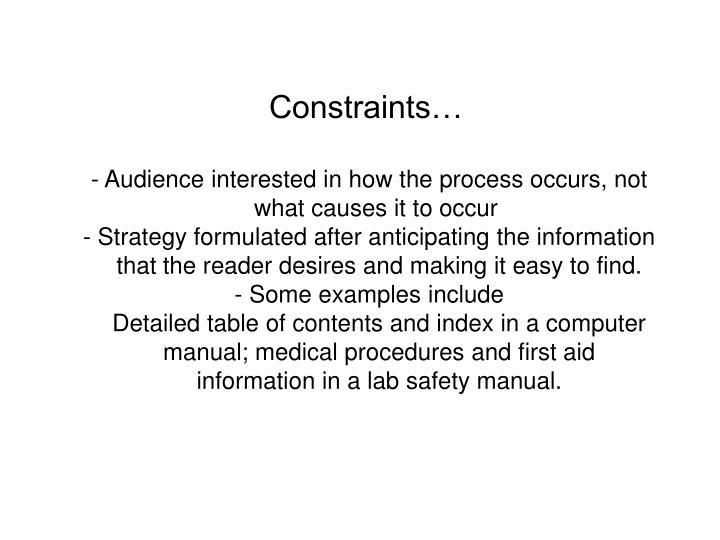 Constraints…